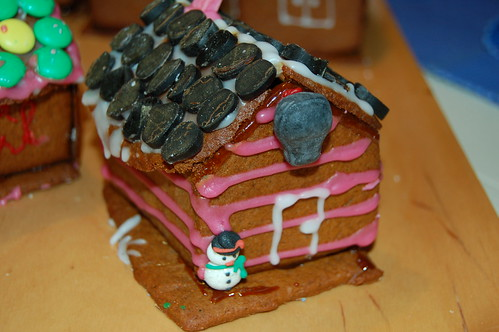 The striped gingerbread house