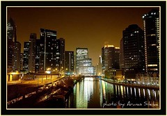Chicago at Night (Arunas S) Tags: city chicago reflection tower water skyscraper hotel downtown international trump chicagoatnight colourartaward