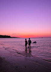 Taking A Timeout (medically_irrelevant) Tags: sunset beach water hands nikon couple purple horizon holdinghands hold d300 holdhands
