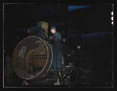 Working on the boiler of a locomotive at the 4...