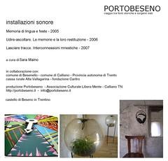 cover DVD - installazioni sonore - Portobeseno 2005/2007