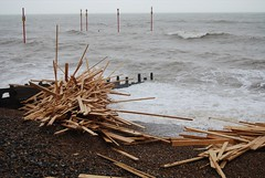 Timber warning after Ice Prince ship wreck (Leonski) Tags: wood sea storm ice beach up warning photo seaside brighton flickr ship image photos pics timber hove picture prince pic images cargo clear damage washed wreck salvage sank leonski iceprince