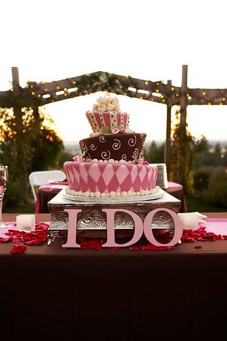 Foto decoração de casamento rosa e marrom
