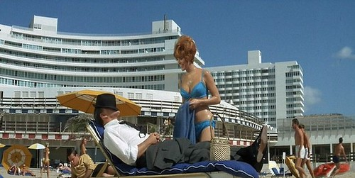 Jill St. John at the swimming pool at The Fontainebleau Hotel