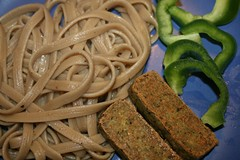 Basil tofu with porcini mushroom pasta