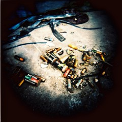 Dead Batteries (Jickel) Tags: xpro garbage fuji stockholm urbandecay provia f11 batteries pushing 100400 holgan