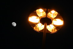 seven (beegee74) Tags: moon lamp schweiz switzerland dusk streetlamp sbb stgallen oldstuff bahnhofplatz outsidethestation