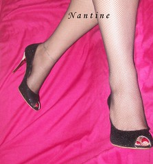 Black glittered peep toe