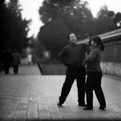 one last waltz (memetic) Tags: china park bw 120 6x6 mediumformat asian blackwhite couple dancers tl chinese beijing hp5   templeofheaven ilford tiantan p6  pentaconsix sonnar 180mm