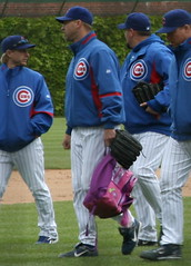 Michael Wuertz carries the back pack (mikepix) Tags: baseball cubs wrigleyfield 2008 cubswin dugoutbox