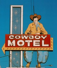 cowboy motel (Dave van Hulsteyn) Tags: sign vintage route66 pigeons neglected motel roadtrip roadside mchammerpants spaceage brokenneon starbursts cowboysign 3619eamarilloblvd westernmeetsgoogiespaceage doityourselfbeatlehaircutonabadhairday