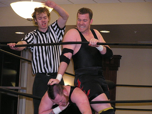 3XW Champ Gage Octane at his nastiest versus Anarchist Arik Cannon at 3XWs Final Countdown (Des Moines, IA on May 16, 2008)