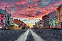 5A.M.  17.05.2009 (Danny Q-DJah) Tags: street city morning pink sky color clouds saintpetersburg hdr spb sanktpeterburg tonemapping hdraward daarklands qdjah danielborisov даниилборисов