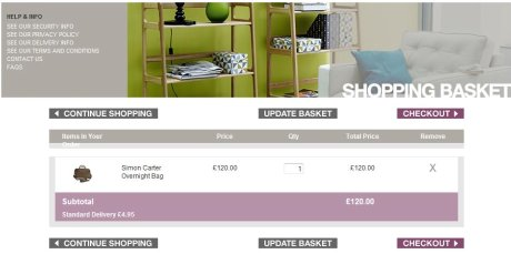 Heal's shopping basket page
