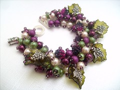 013 (kim smith charm bracelets) Tags: uk summer green glass fashion purple wine handmade plum jewelry pearls jewellery gift bracelet pearl lover grape seller beaded