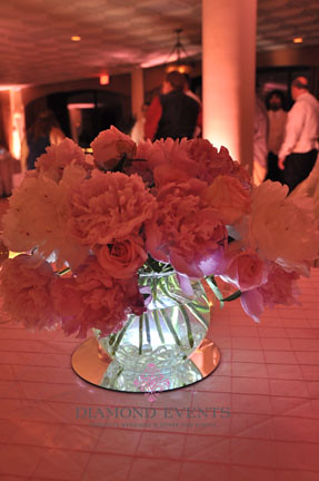 Centerpiece with lights at night