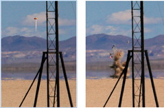 Nike Ballistic Lawn Dart (jurvetson) Tags: diptych experimental desert weekend smoke nevada cluster balls nike rocket launch blackrock hpr highpowerrocketry balls16 jackgaribaldi