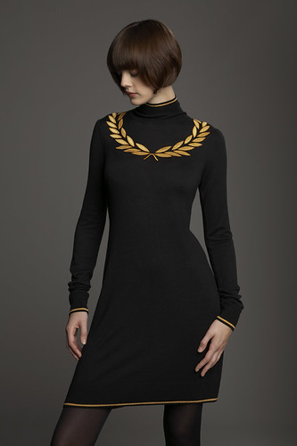Image 1 of Fred Perry Laurel Round Collar Dress With Beaded Laurel :
