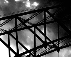 sky and girders (~ paddypix ~) Tags: blackandwhite photoshop buildings angles picasa specialeffects fragments moodyblues ukandireland iusedpicasa urbanside
