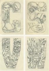 Topps Monster Initial art