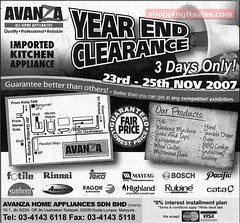 23 - 25 Nov : Avanza (Kitchen Appliance) Year End Clearance