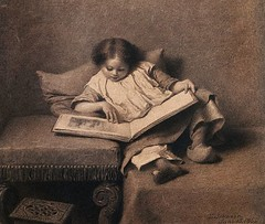 IX001320 (bupberom) Tags: girls people cute childhood youth children reading 1 clothing bed holding shoes sitting quiet reader furniture fineart visualarts drawings books pillow footwear clogs whites females domesticscenes everydayscenes seatingfurniture stool curiosity enjoyment footstool pencildrawings traditionalclothing americanperiodorstyle northamericanperiodorstyle sabot realistperiodorstyle eastmanjohnson thepicturebookbyeastmanjohnson