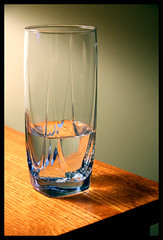 Water Glass (Pat Kilkenny) Tags: light water glass drink woodtable glasshalfempty