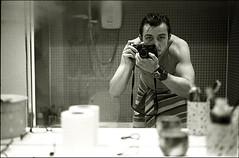 her bathroom is much nicer than mine (gorbot.) Tags: blackandwhite selfportrait me bathroom mirror rangefinder reflected leicam6 agfaapx400 mhexanon mmount epsonv700 konicahexanon50mmf20 ilfotechc131