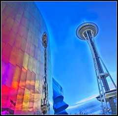 Under the Needle--Approaching 6K views (papalars) Tags: seattle blue red sky reflection architecture modern frank washington alien gehry best spaceneedle experiencemusicproject emp digitalrebelxt alienarchitecture papalars a3b andrewelarsen