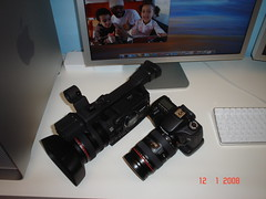 Canon XH-A1 and Canon 40D (Eddy 1) Tags: slr apple digital canon photography mac workspace hd camcorder videography 40d xha1