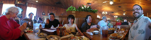 Bonnie's birthday brunch bunch at Sonny's BBQ in Pensacola, Florida, USA