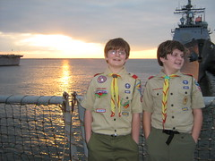 John and Stephen at sunset (stepol) Tags: sunset jan norfolk navy destroyer va scouts campout 2008 sch johnh arleighburke navalbase stephenh jph ussmcfaul ddg74 troop737 missiledestroyer