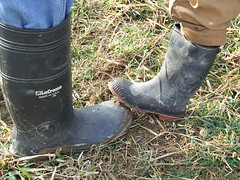 father & son (yakfur) Tags: winter fuji boots farm wv westvirginia finepix fathersandsons sod madeinusa 2008best lacrosseboots