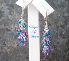 Razzle Dazzle (DesignsByAutumn) Tags: silver teal jewelry sterling earrings amethyst cascade dangle gemstones cascading rondelles sterlings