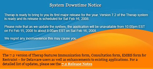 Graphic announcing System Downtime Notice