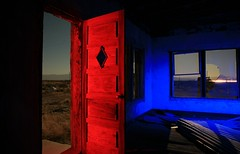 red door (tgagephoto) Tags: door longexposure blue windows light red moon lightpainting abandoned canon painting cafe rustic 5d westtexas strobe saltflat copyrighted ihveissues tomgagephotography tgage