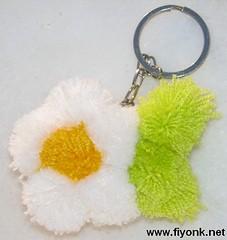 ponpon çiçek anahtarlık