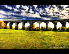 Spanning Time (stev1eb) Tags: bridge sky field grass clouds wideangle viaduct 1020mm hdr westyorkshire mywinners canon400d platinumphoto anawesomeshot nrwakefield photoexel