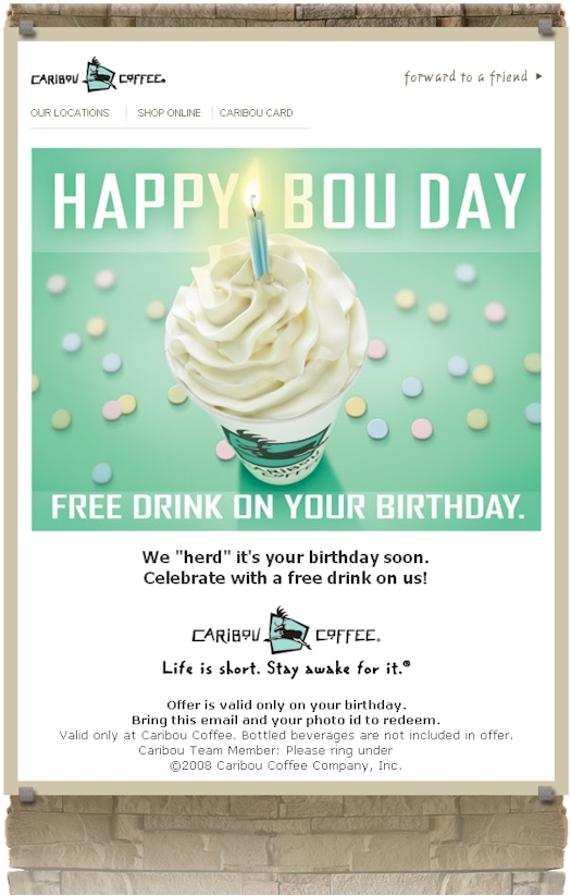 Caribou Happy Birthday Email