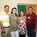 La foto del recuerdo con los expositores - iz a der - César y Paola, Bety y Abel