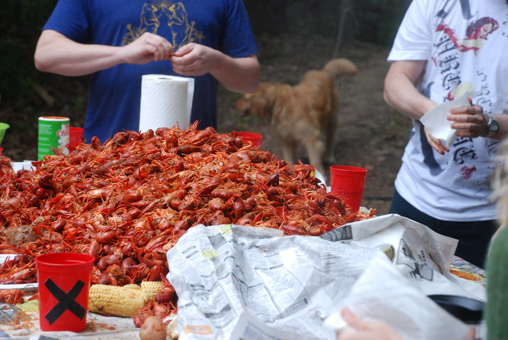 crawfish boil (marking your cup with an X)