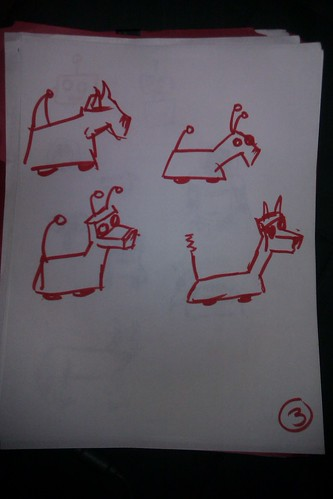 page 3 drawings of robots and dogs