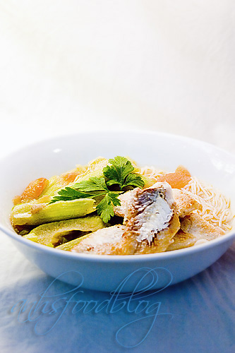 Fish Noodle Soup with Taro Stems and Herbs