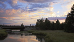 ...Until next time Yellowstone... (King'76) Tags: bridge trees sunset sky usa reflection water clouds nationalpark yellowstone canoneos5d king76 canonef24105mmf4lisusm