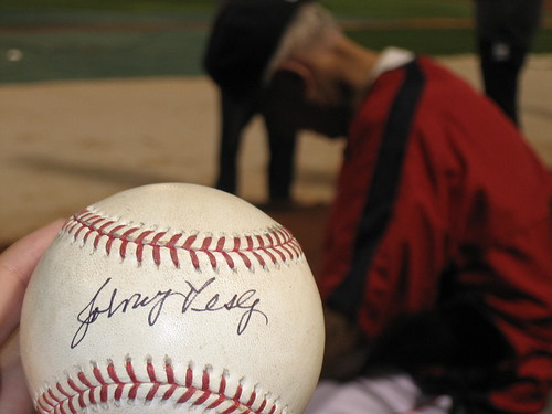 My signed Pesky Ball! Johnny in the Background