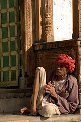 Morning Nap in the Evening of Life (Koshyk) Tags: door old morning fab sun india gate nap sleep oldman ornate pushkar rajasthan mywinners