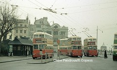 Brighton Trolleys at Old Steine. (Lady Wulfrun) Tags: old electric sussex war brighton hove transport east corporation steine pre 1950s 1958 but titan department 1939 leyland fuf weymann aec southdown trolleybuses