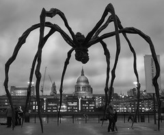 maman, evening light (lesbru) Tags: blackandwhite london spider stpauls millenniumbridge tatemodern maman louisebourgeois eveninglight aplusphoto d40x