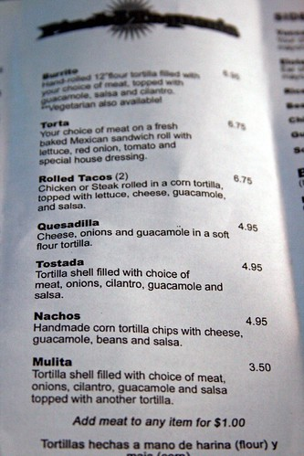 Burrito and other food stuffs section of the current menu