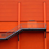 orange wall and stairs